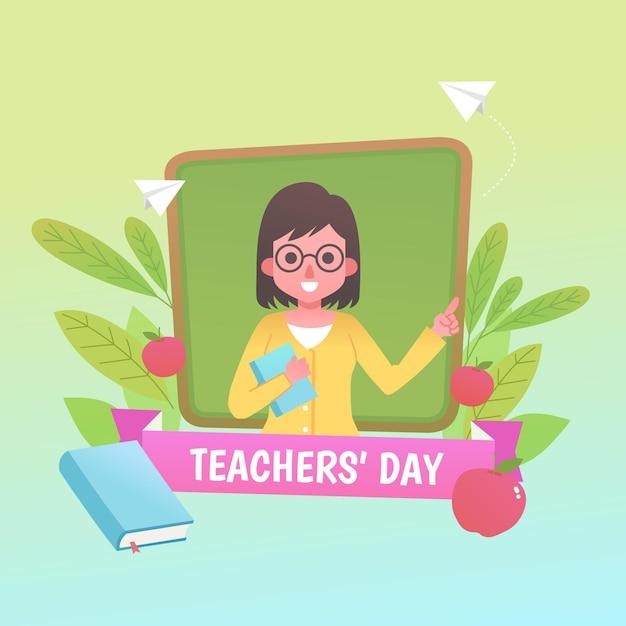 フラットなデザインの教師の日のコンセプト Premiumベクター