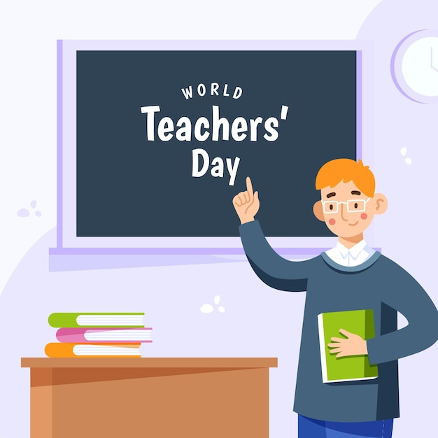 フラットなデザインの教師の日のコンセプト 無料ベクター