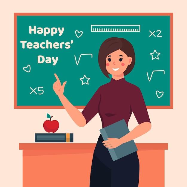 教室のあるフラットデザインの教師の日 Premiumベクター