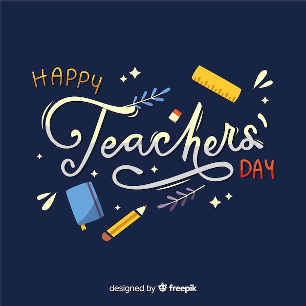 Flat design teachers day with lettering Free Vector