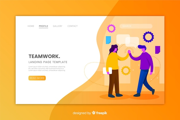Flat design of a teamwork landing page Free Vector
