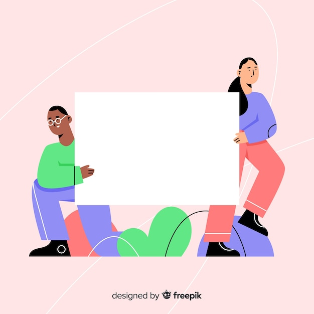Flat design of teens holding blank banner Free Vector