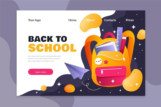 Flat design template back to school landing page Free Vector