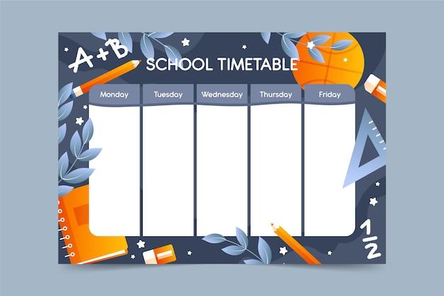 Плоский дизайн шаблона обратно в школьное расписание Premium векторы