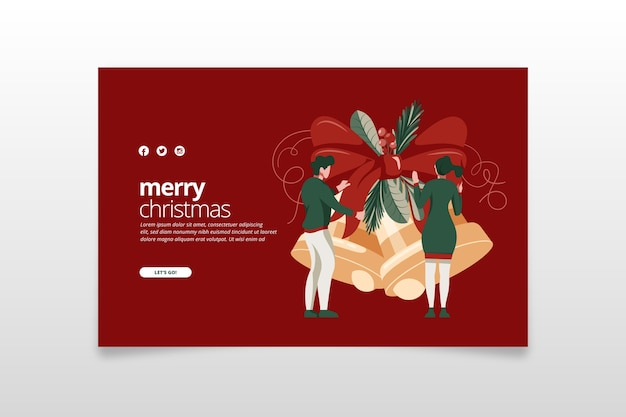 Flat design template christmas landing page Free Vector