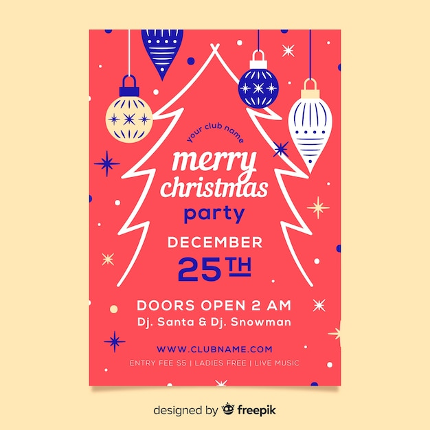 Flat design template christmas party poster Free Vector