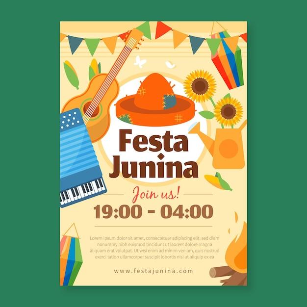 Плоский дизайн шаблона festa junina flyer Бесплатные векторы
