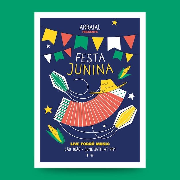 Плоский дизайн шаблона феста junina постер Бесплатные векторы