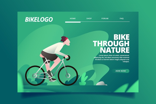 Flat design template landing page outdoor sport Free Vector