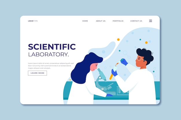 Flat design template scientific research landing page Free Vector