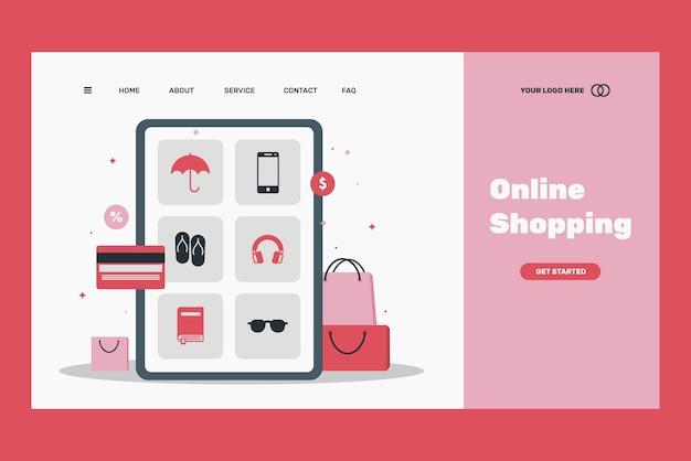 フラットなデザインテンプレートショッピングオンラインランディングページ 無料ベクター