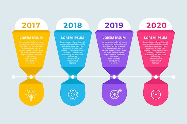 Flat design template timeline infographic Free Vector