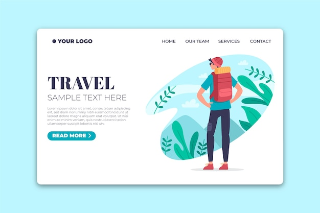 Flat design template  travel landing page Free Vector