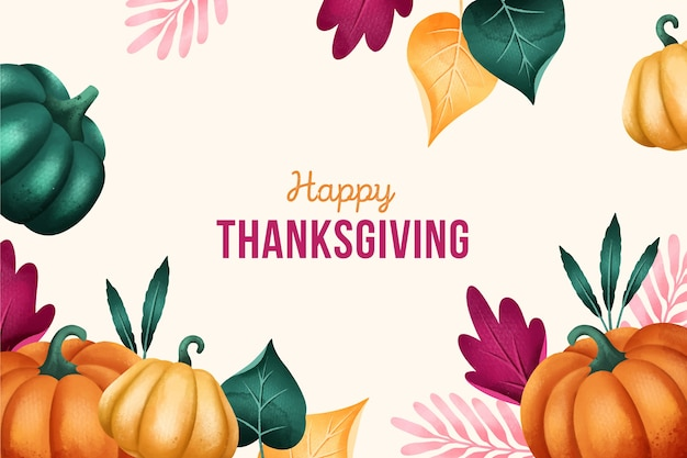 Flat-design of thanksgiving background in watercolor Free Vector