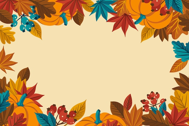 Flat design thanksgiving background with leaves Free Vector