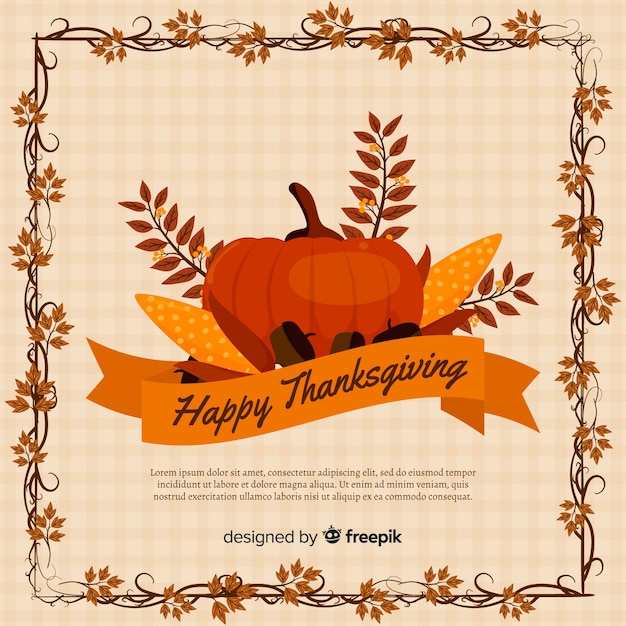 Flat design thanksgiving background with pumpkin and leaves Free Vector