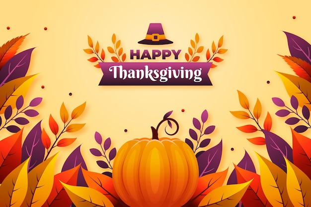 Flat design thanksgiving background with pumpkin Free Vector