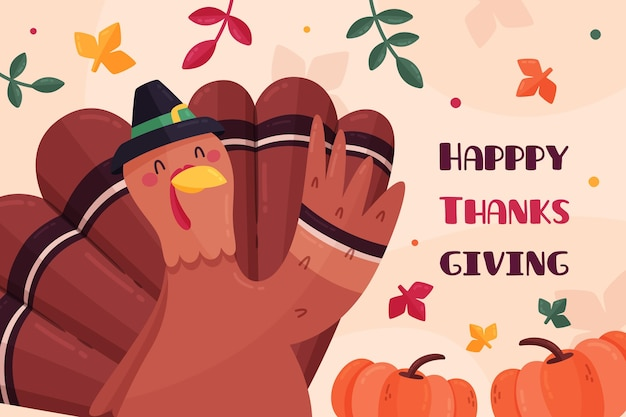 Flat design thanksgiving background with turkey and leaves Free Vector