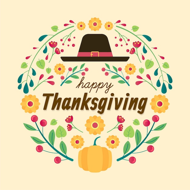 Flat design thanksgiving background Free Vector