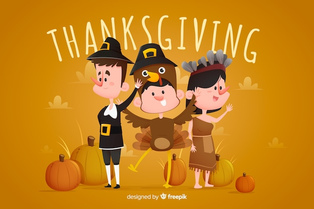 Flat design for thanksgiving background Free Vector