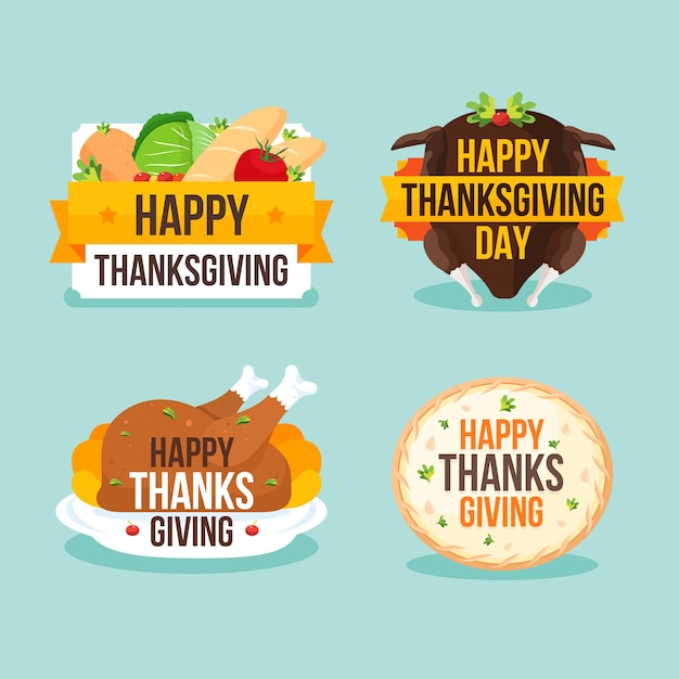 Flat design thanksgiving badge collection Free Vector