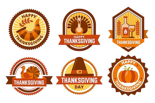 Collezione di badge di ringraziamento design piatto Vettore gratuito