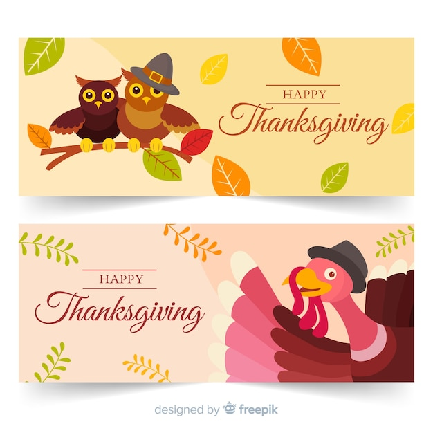 Flat design thanksgiving banners collection Free Vector