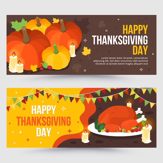 Flat design thanksgiving banners set Free Vector