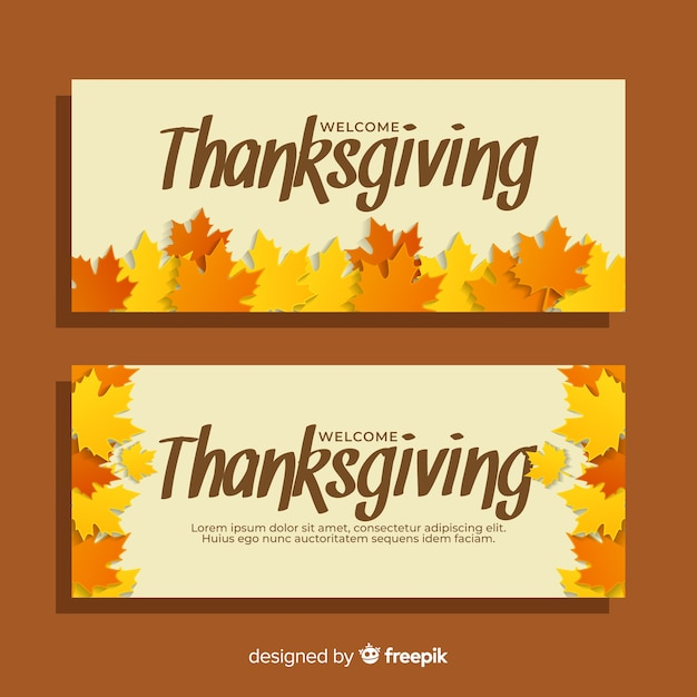Flat design thanksgiving banners template Vector | Free ...
