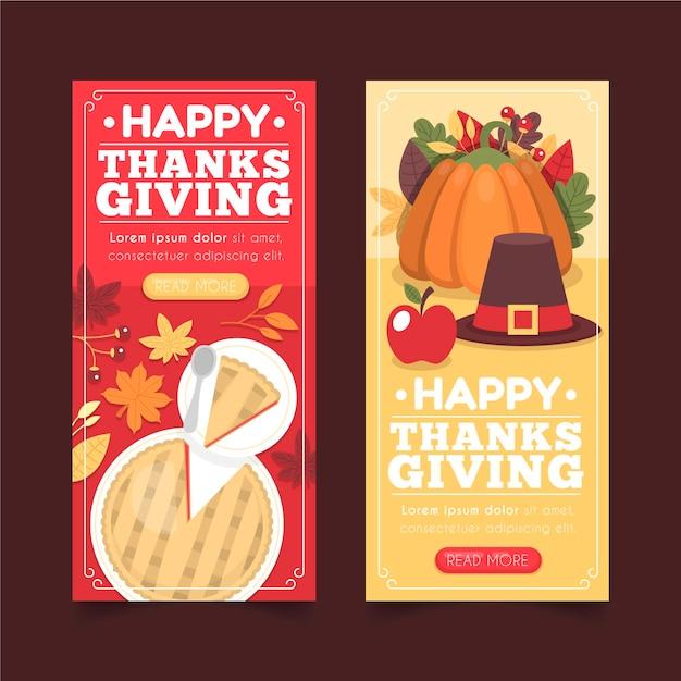 フラットなデザインの感謝祭バナーテンプレート 無料ベクター