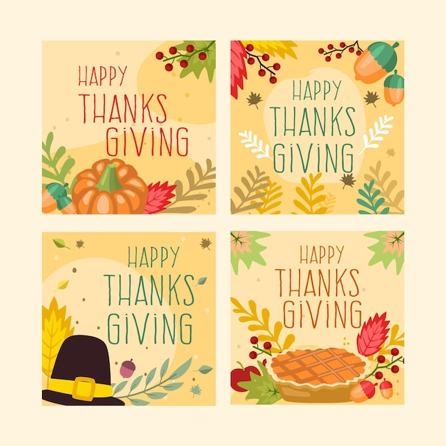 Flat design thanksgiving instagram post Free Vector