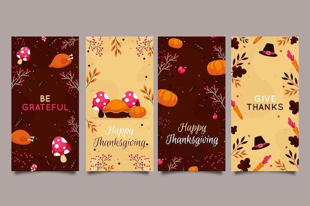 Collezione di storie di instagram di ringraziamento design piatto Vettore gratuito