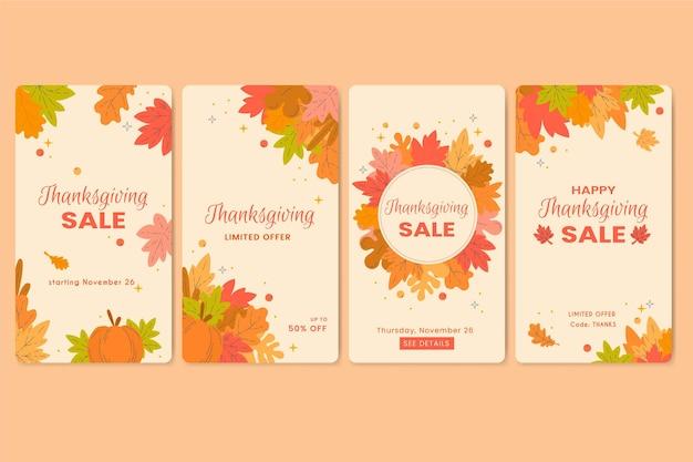 Storie di instagram di ringraziamento design piatto Vettore gratuito