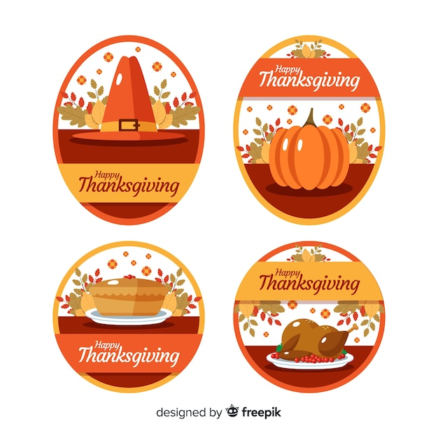 Flat design thanksgiving label collection Free Vector
