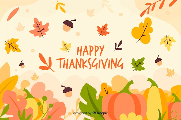 Flat design thanksgiving wallpaper Free Vector