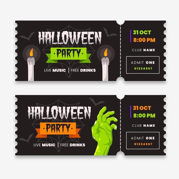 Biglietti di halloween a tema design piatto Vettore gratuito