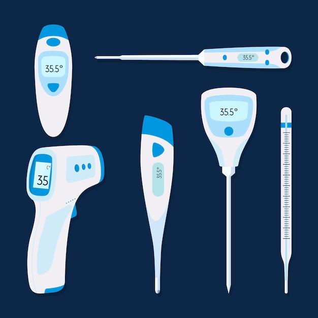 Tipi di termometro design piatto Vettore gratuito