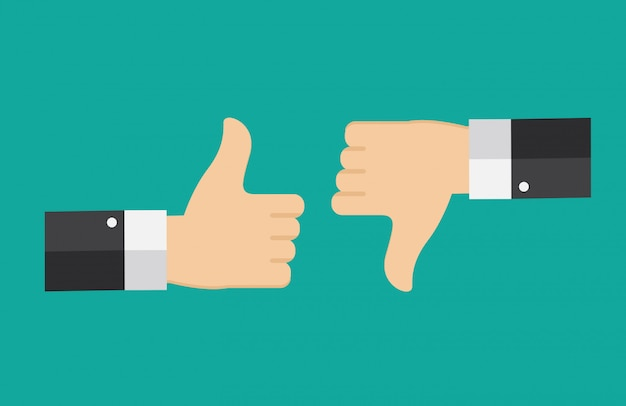 Flat design thumbs up and down background . Premium Vector