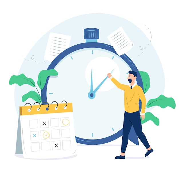 Flat design time management concept Free Vector