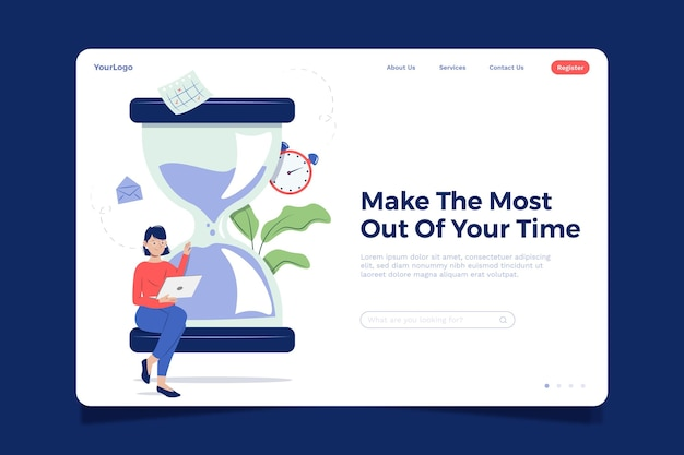 Flat design time management landing page template Free Vector