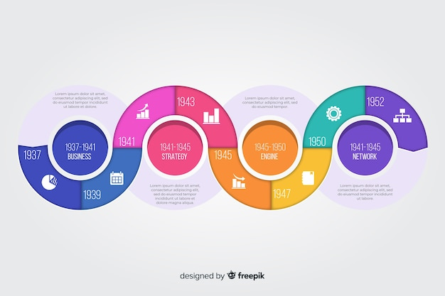 Flat design timeline infographic template Free Vector