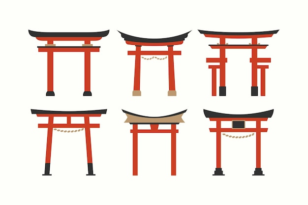 Free Vector | Flat design torii gate collection