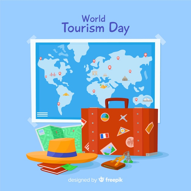 Flat design tourism day background Free Vector