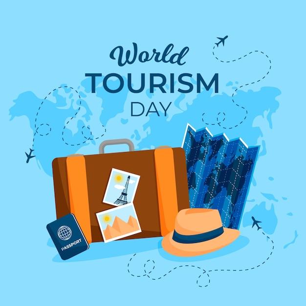 Плоский дизайн концепции дня туризма Premium векторы