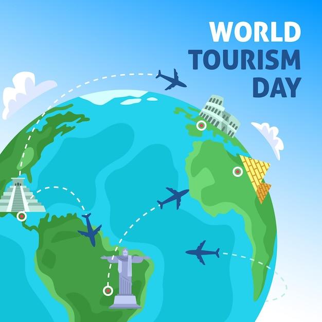Concetto di giorno del turismo design piatto Vettore gratuito