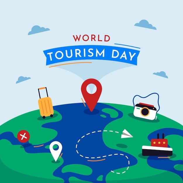 Плоский дизайн концепции дня туризма Бесплатные векторы