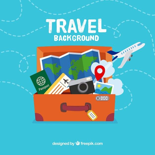 Flat design travel bag background Free Vector
