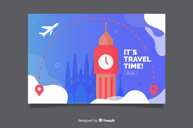 Flat design travel banner template Free Vector