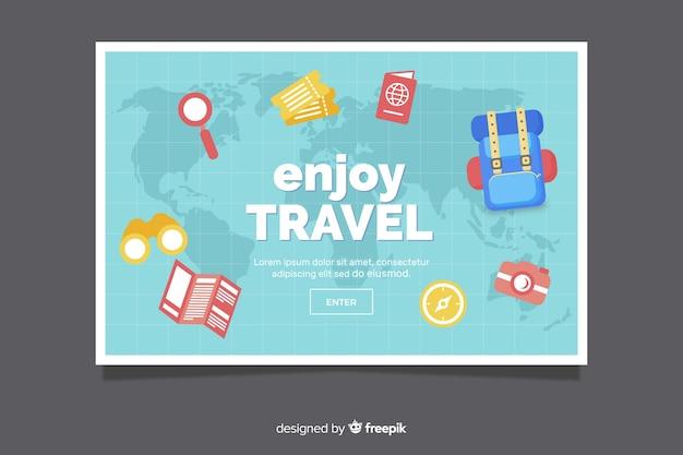 Flat design travel banner template Free Vector