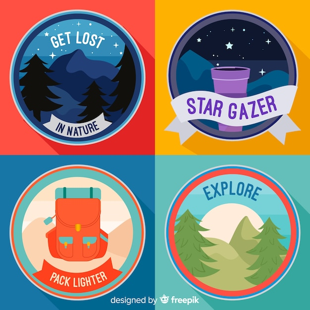 Flat design travel label collection Free Vector